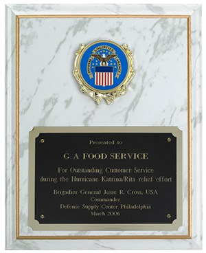 One of our many awards for outstanding customer service during times of disaster.