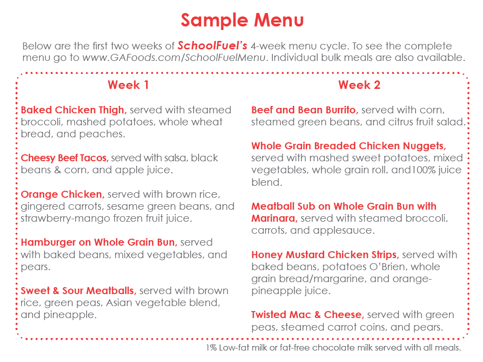 SchoolFuel Sample Menu